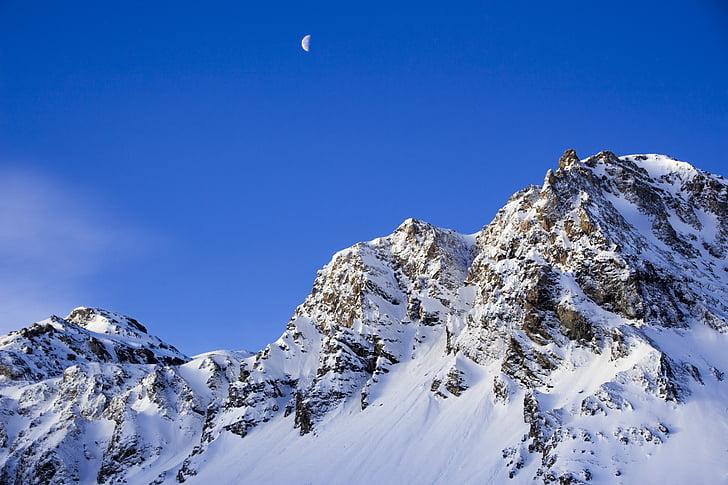 azul, lua, montanha, céu, neve, Inverno, temperatura fria