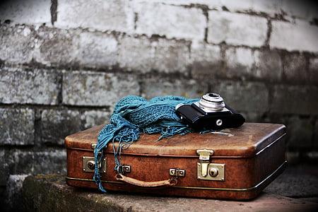 luggage, old suitcase, nostalgia, leather suitcase, nostalgic, camera, go away