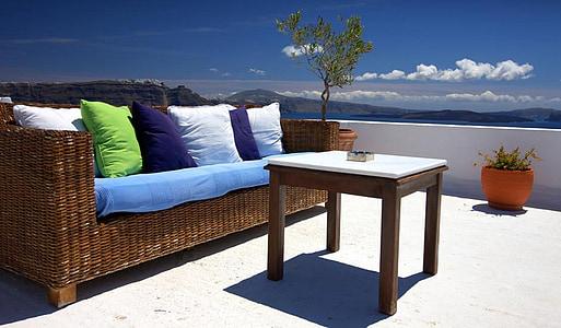 pati, mobles, sofà, terrassa, a l'exterior