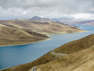 clouds, hills, landscape, mountains, outdoors, river, scenic