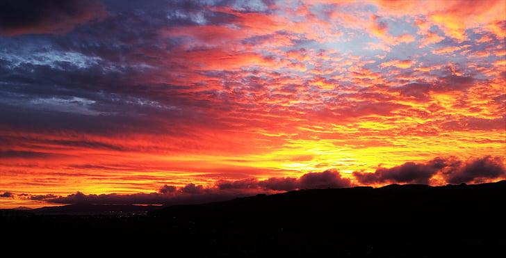 clouds, dawn, dramatic, dusk, silhouette, sky, sun
