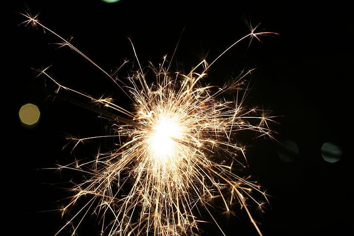 csillagszóró, fény, Szilveszter, rádió, spray, fények, újév napja
