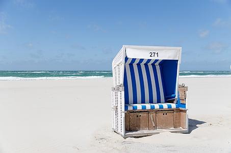 scaun de plaja, plajă, Westerland, Sylt, nisip, cer, nori