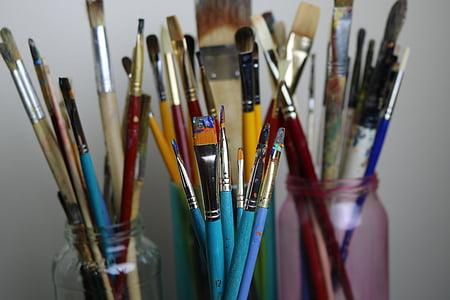 seni, sikat, warna, kuas, kreativitas, artis, cat