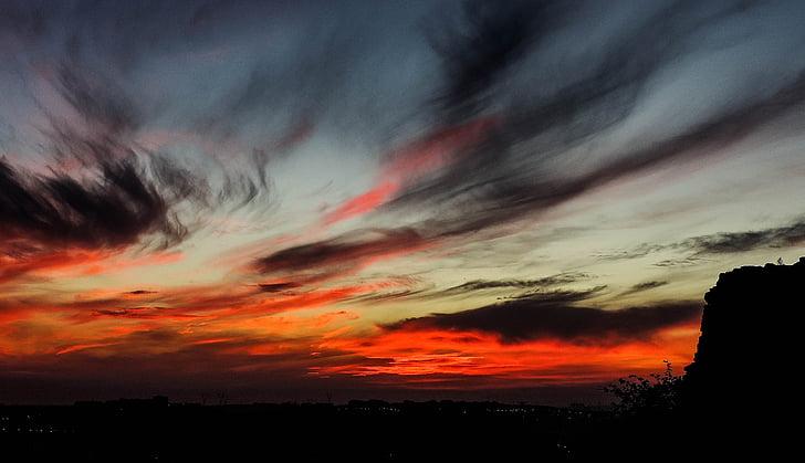 posta de sol, sol, conjunt, vermell, l'estiu, Alba, l'aire lliure