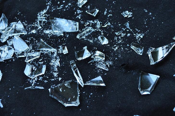 vidre, trencat, destrossat, vidres trencats, part vidres, cruixit, descans
