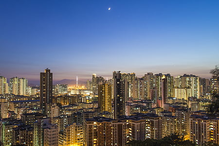 urban, moon, city, skyline, landscape, cityscape, moonlight