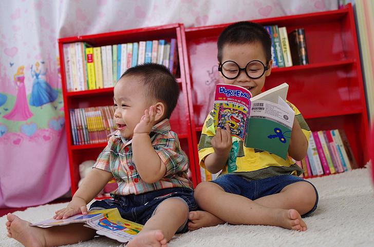 เด็กชาย, อ่าน, หนังสือ, แว่นตา, หนังสือ