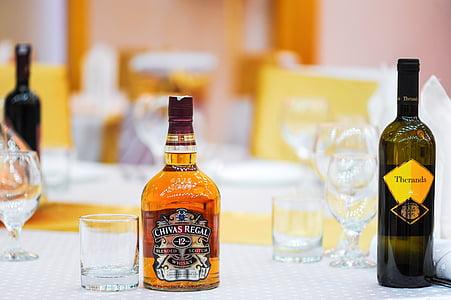 Tabel, Restoran, klaas, jook, Brandy, viski, pudel