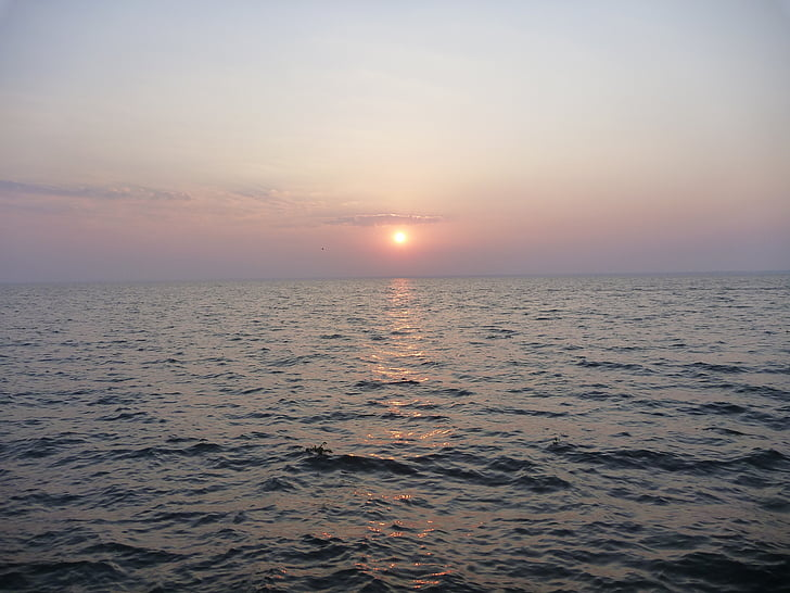 oceà, posta de sol, Mar, calma, capvespre, ones