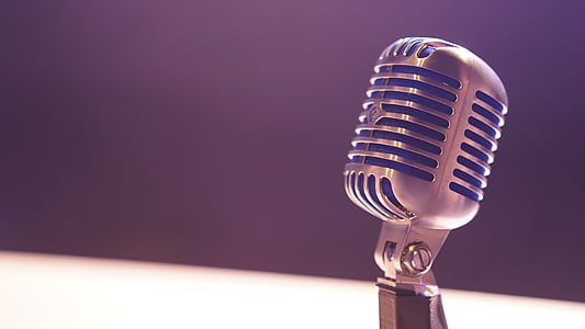 silver, condenser, microphone, music, technology, sound, close-up