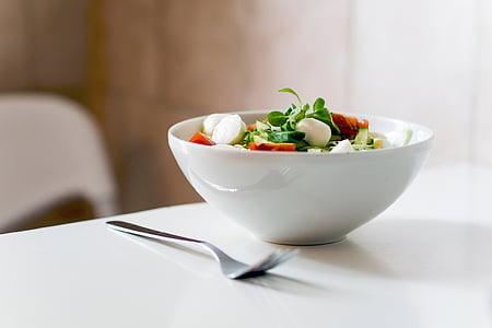 estil de vida, Sa, aliments, Amanida, verdures, blanc, forquilla