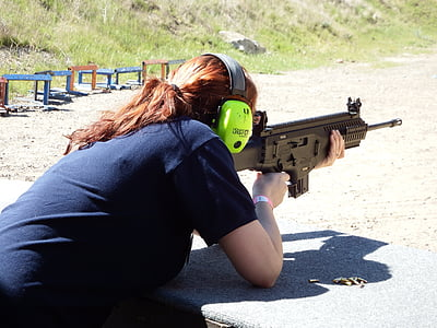 lövés, nő, lő, pisztoly, puska, kültéri, lőfegyver