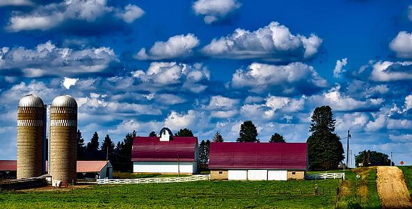 iowa, farm, panorama, silos, barn, buildings, agriculture