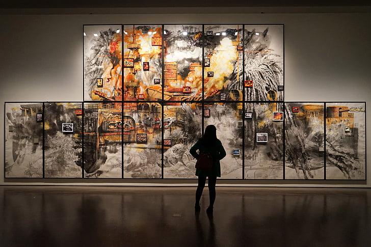 muuseum, näitus, Joonis, tüdrukud, Shanghai, inimesed