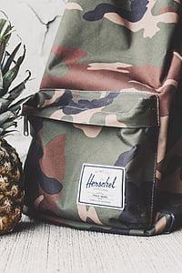 tas, ransel, perjalanan, Kolam, Herschel, nanas, buah