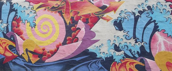 graffiti, színes, városi, grafika, spray, festék, fal