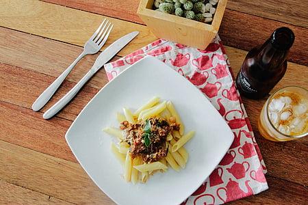 pasta, pasto, cibo, pranzo, cena, cena, tavolo