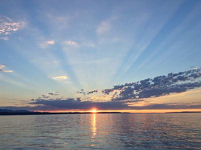 Sonnenuntergang, Puget sound, Sonnenstrahlen, Wasser, Meer, Ozean, Sonne