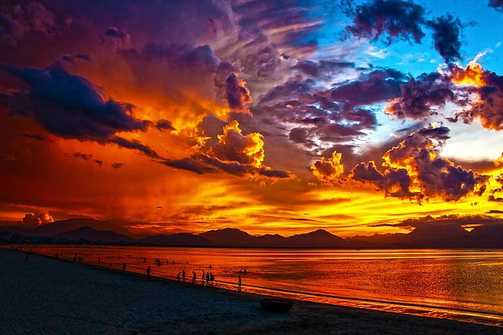 platja, llacuna, posta de sol, crepuscle, Badia de da nang, ciutat de Danang, Vietnam