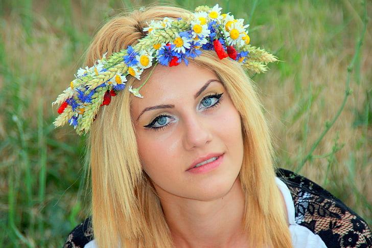 djevojka, vijenac, plavuša, portret, lijepo