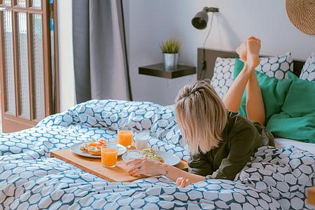people, woman, breakfast, bed, sheet, room, house