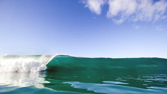 κύμα, νερό, Ωκεανός, σύννεφο, σύννεφα, στη θάλασσα, ωκεανοί