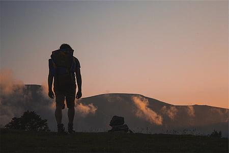 silueta, Foto, muž, batoh, pěší turistika, tramp, venku