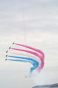 red arrows, planes, airshow, airplane, air, aircraft, sky