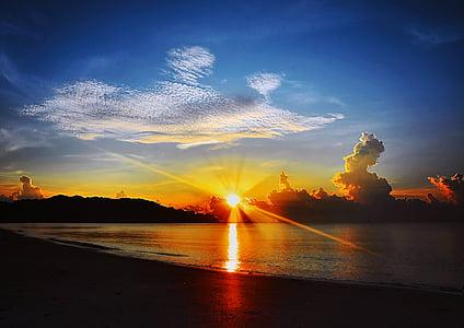 Alba, platja, Mar, posta de sol, posta de sol de platja, oceà, cel