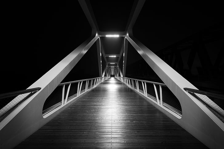 bridge, black and white, black, white, architecture, bridge - Man Made Structure, steel