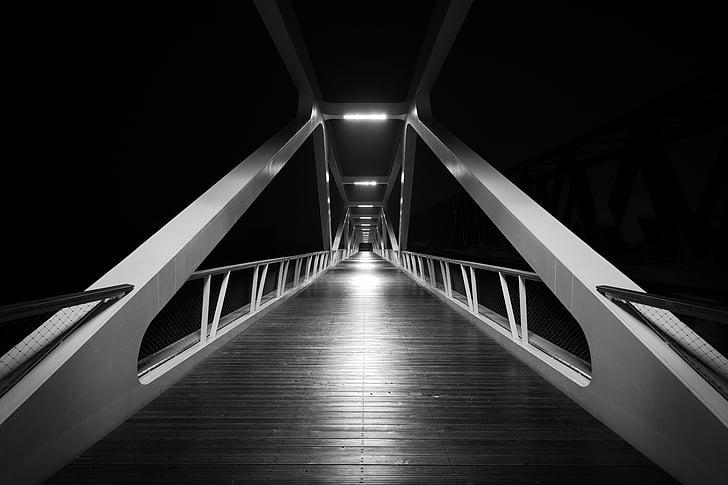 Bridge, svart-hvitt, svart, hvit, arkitektur, Bridge - mann gjort struktur, stål