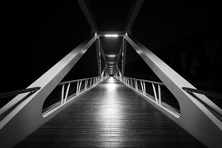 Pont, blanc i negre, negre, blanc, arquitectura, Pont - l'home fet estructura, acer