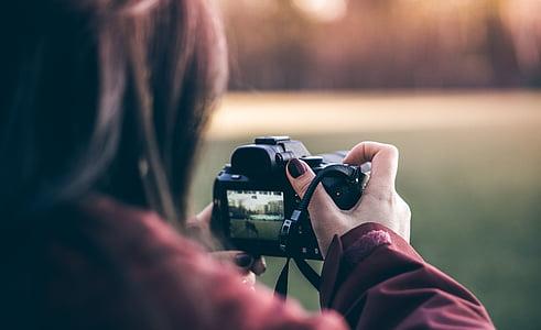 사람들, 소녀, 카메라, 사진, 사진 작가, 흐림, 카메라-사진 장비