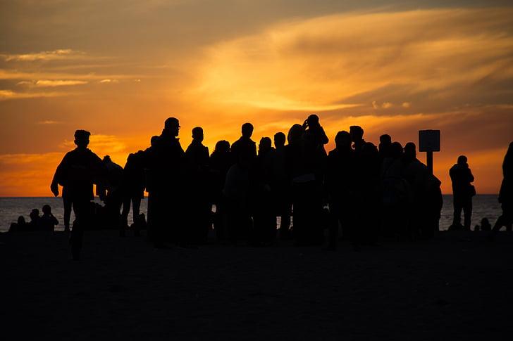Océano Pacífico, puesta de sol, Playa, sol, paisaje, California, Costa