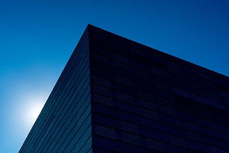 blue, buildings, structure, architecture, lines, sky