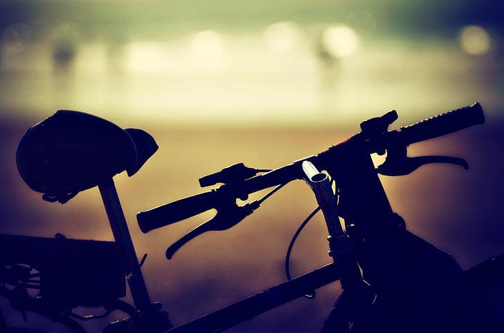 velosipēdu, saulriets, pludmale, vīnogu novākšanas, rietošo sauli, siluets, velosipēds
