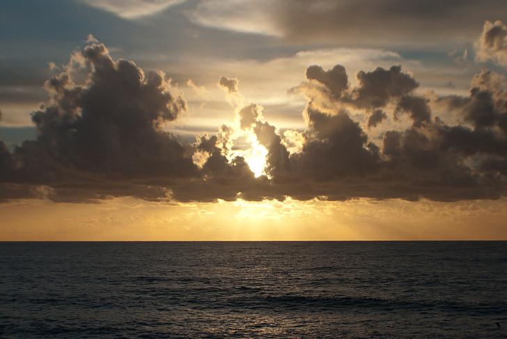 Océano Pacífico, puesta de sol, paisaje