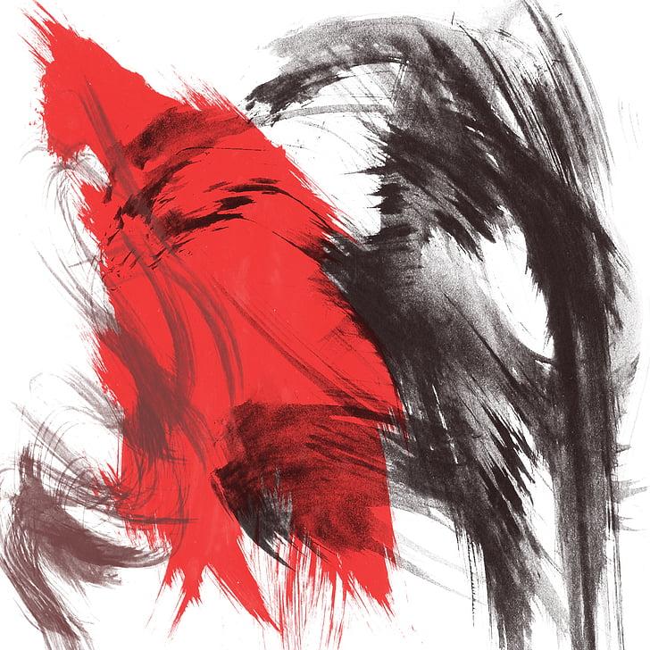 rød, svart, malt, abstrakt, bakgrunn, strukturen, maling