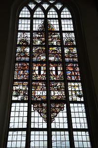 l'església, fe, finestra de l'església, vidre, vitralls, text, gràfics