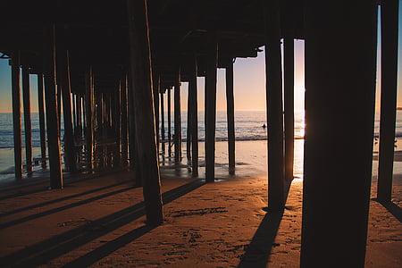 stranden, daggry, skumring, hav, Pier, sand, sjøen
