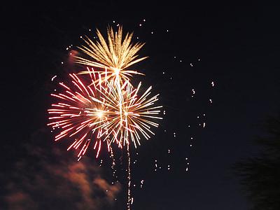 tűzijáték, ünnepelni, július 4-én, felrobban, fél, robbanás, esemény