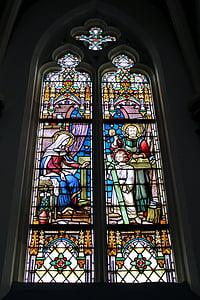 教会, 宗教, 彩色玻璃窗口, 多彩