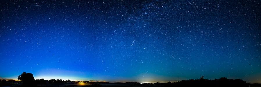astronomie, bleu, brillant, nuages, constellation, Cosmos, sombre