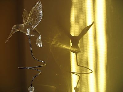 hummingbird, artificial, bird, shadow