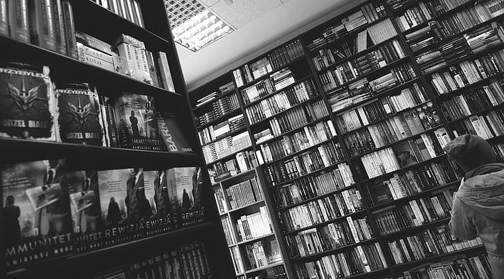 black-and-white, bookcase, books, bookshelves, bookstore, business, education