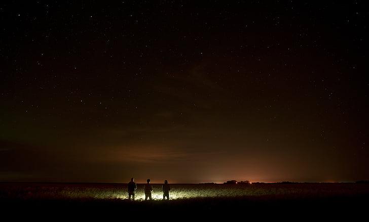 à noite, luzes do Norte, natureza, luzes, estrelas, espaço, campo