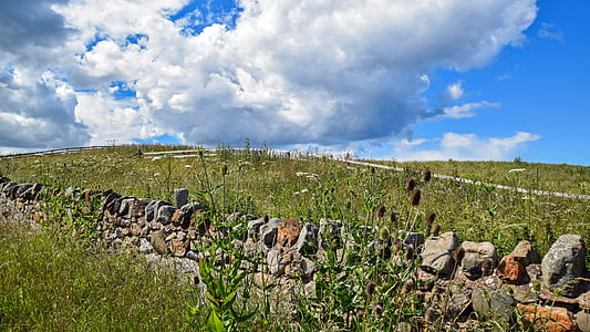 scotland, england, sky, clouds, landscape, meadow, wall