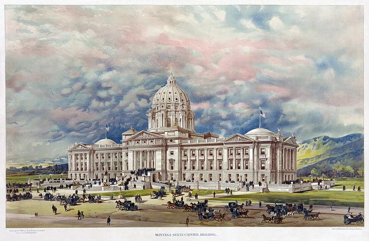 Universitat, Capitoli dels Estats Units, Universitat Estatal de Montana, Bozeman, msu, EUA, dibuix