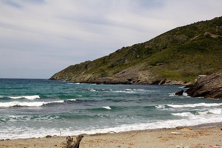 Mar, Costa, platja, costa rocosa, Cornualla, ona, penya-segats